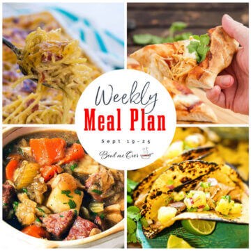 Collage of photos for Weekly Meal Plan 27 with print overlay.