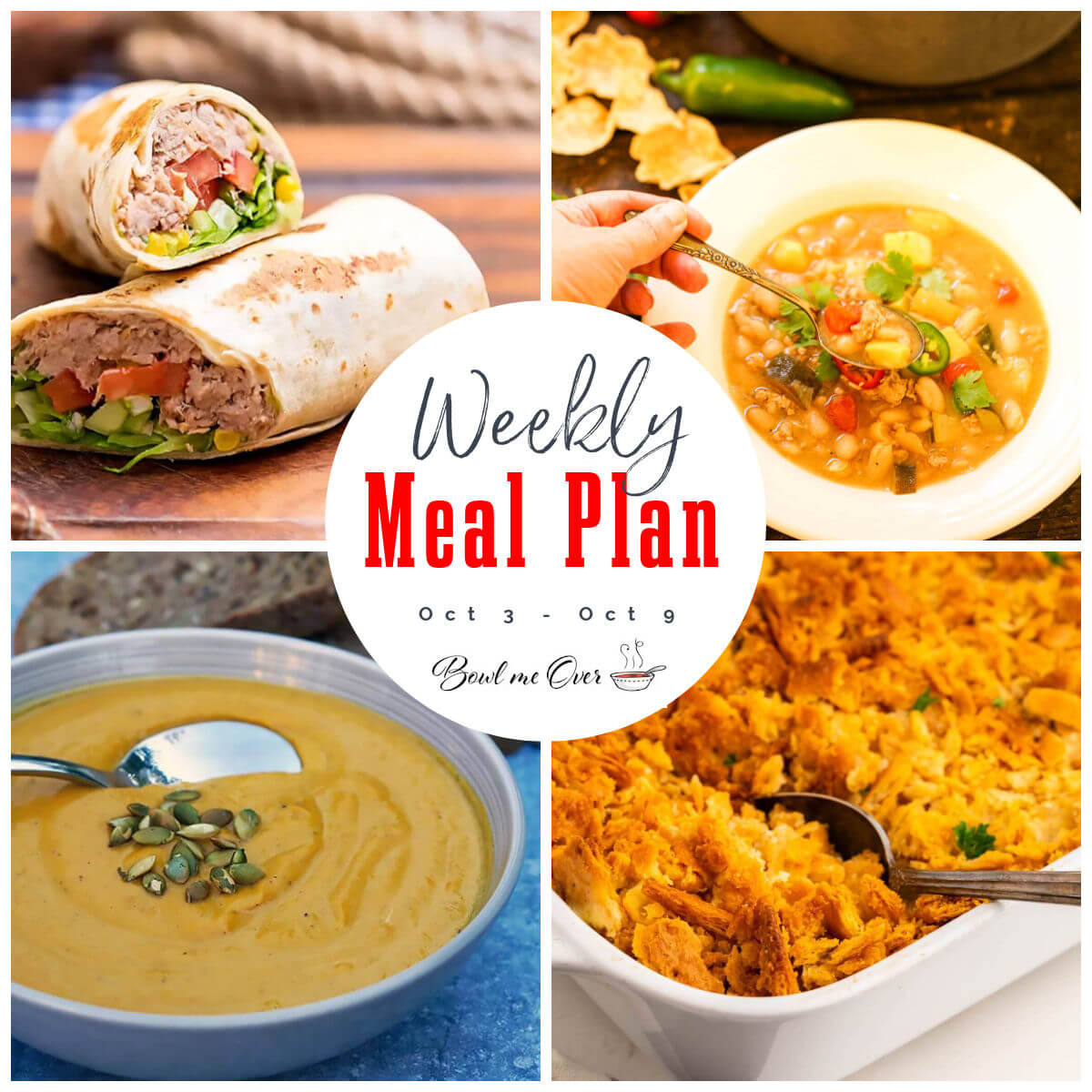 Collage of recipes for Weekly Meal Plan 39 - with Pinterest overlay.