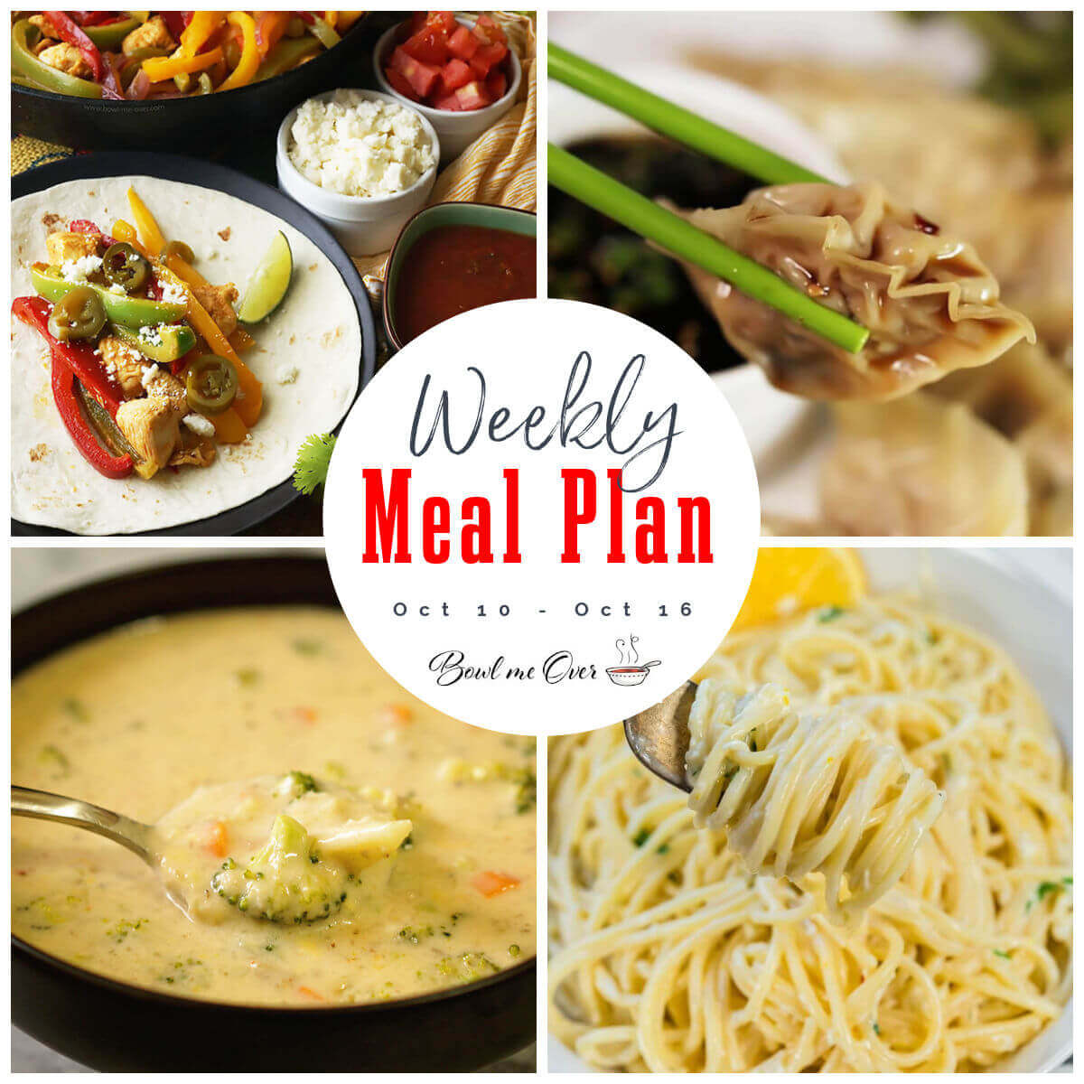 Collage of photos for weekly meal plan 40 with print overlay.
